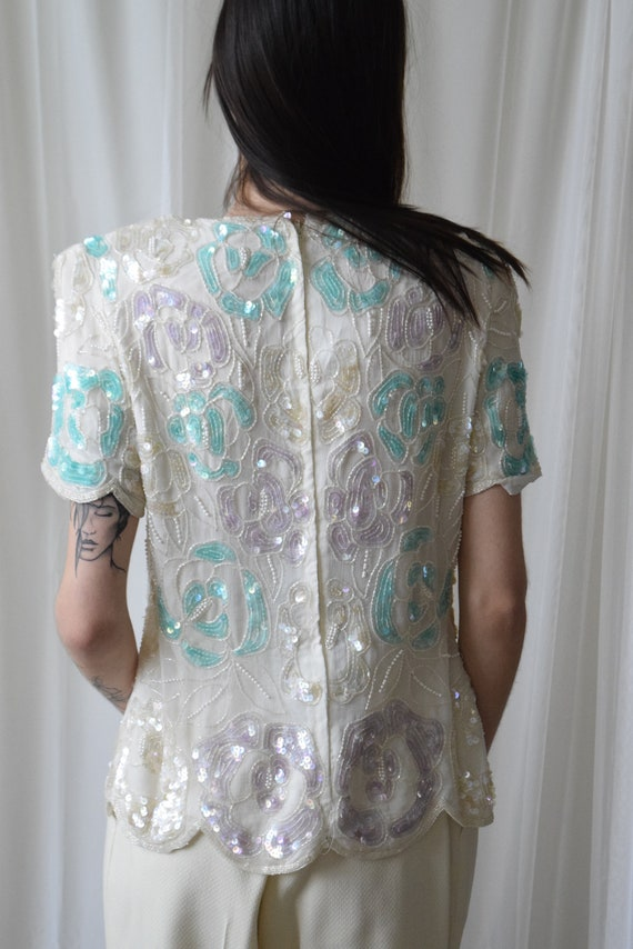 Floral Sequin Silk Tee
