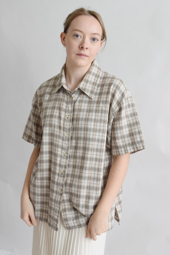 Waffled Cotton Plaid Short Sleeve