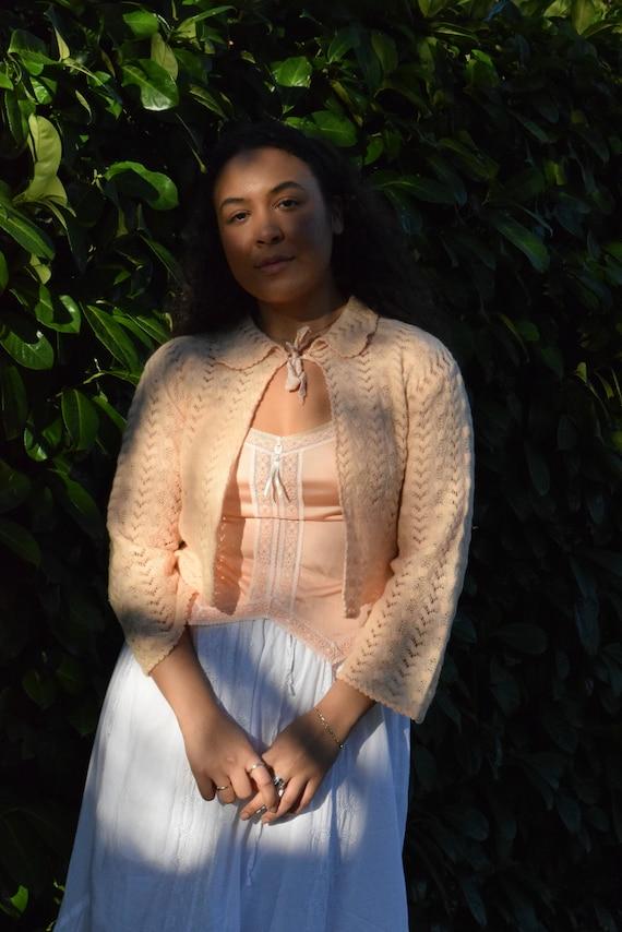 Blush Front-Tied Knit Shrug