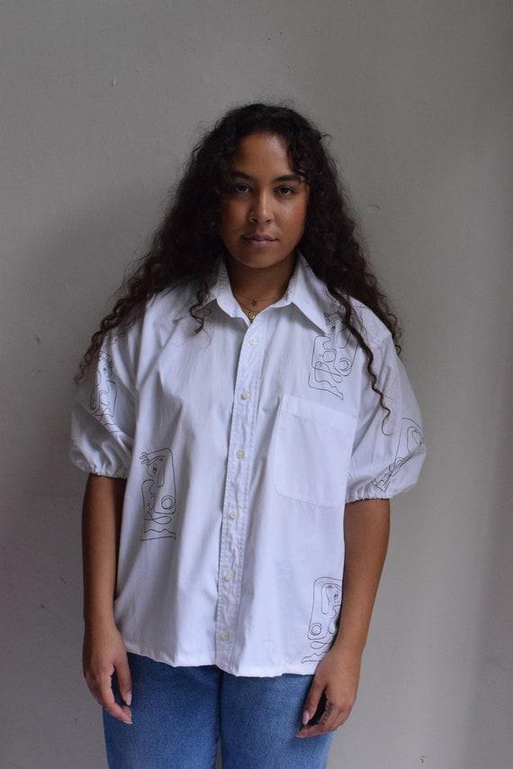 White Reina Resew Balloon-Sleeve Shirt