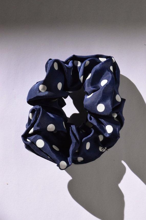 Navy and White Polka Dot Scrunchie  |  Add-on Item