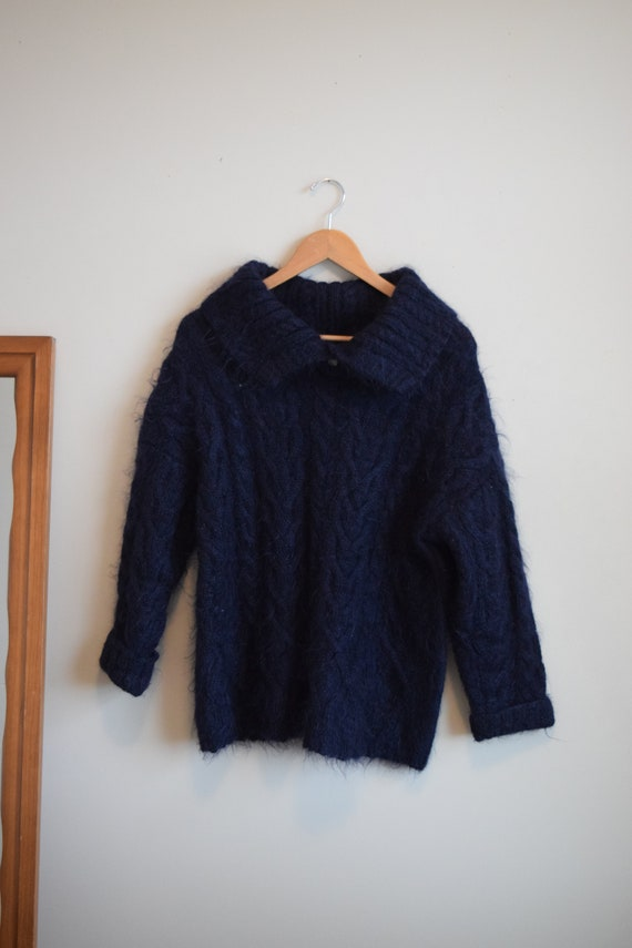 Navy Collared Mohair Jumper