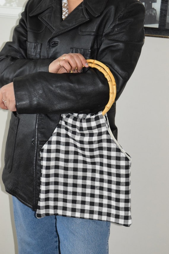 Checkered Bamboo Handbag