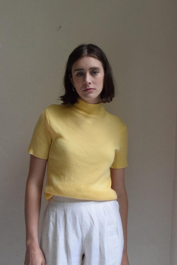 Daffodil Yellow Mock Neck Short Sleeve Knit