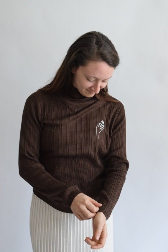 Paloma Chocolate Brown Silk Turtleneck