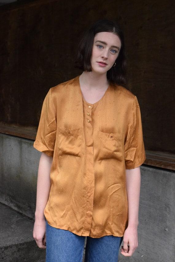 Silk Golden Patterned Short Sleeve Shirt