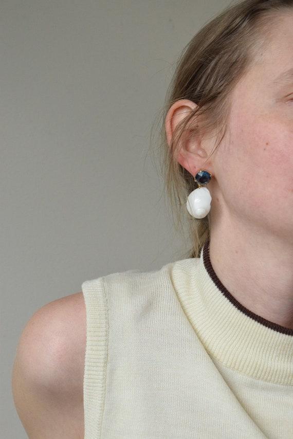 Blue Rhinestone & Shell Earrings