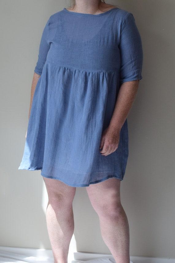 Slate Linen Gathered Dress