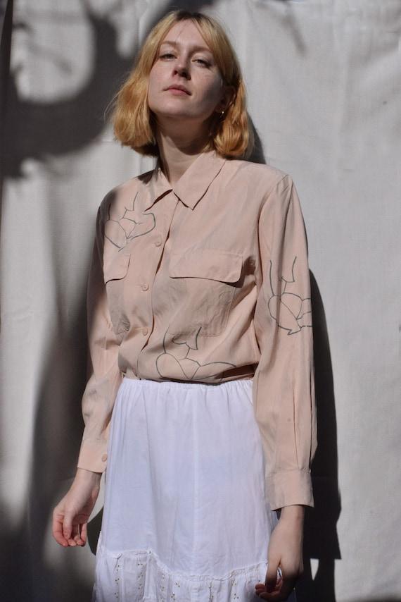 Pale Pink Silk Moira Top