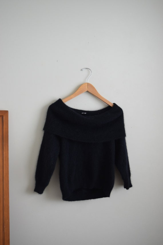 Black Angora Off Shoulder Knit