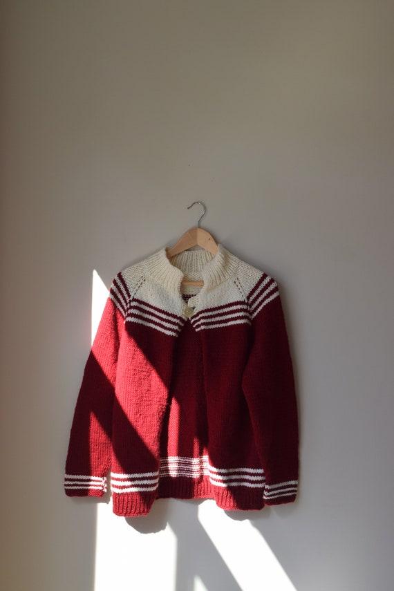 Handknit Cranberry Striped Cardigan