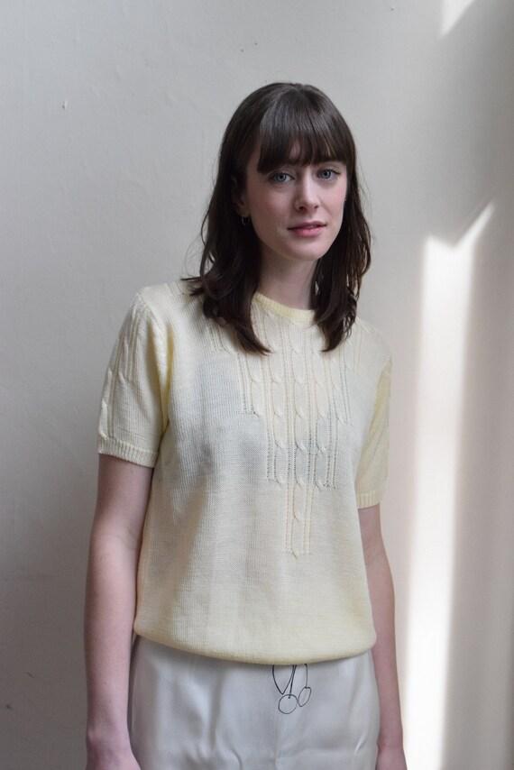 Pale Lemon Knit Short Sleeve Top