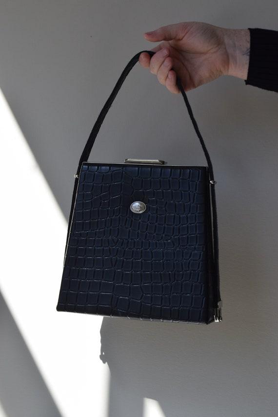 Black Faux Alligator Handbag