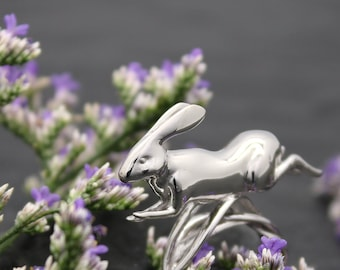 Running Rabbit Ring - Mid-Air, 3D printed in sterling silver, silver rabbit ring