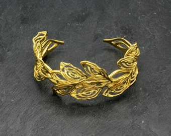 Gilt Laurel Cuff Bracelet, Art Nouveau jewellery, Golden Brass Wedding Bracelet, Filigree Bridal Cuff Bracelet