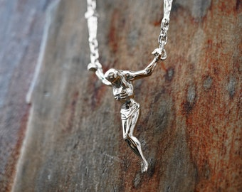 Silver Surrealist Crucifix Necklace, Cross Sculpture, Silver jewelry, Floating Jesus pendant, Christ of St John of the Cross