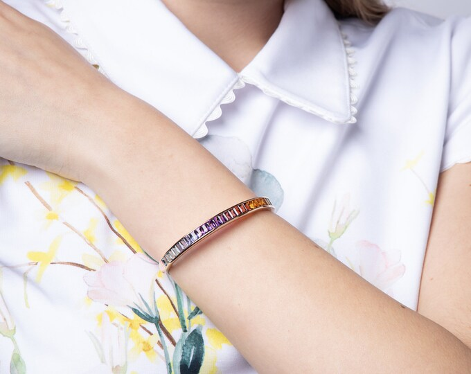 Featured listing image: 14k Rose Gold Rainbow Gemstones Bangle, Multi-color Natural Gemstones Cuff
