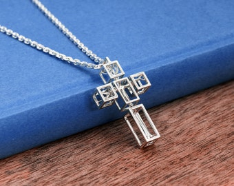 Tree in cross necklace for men