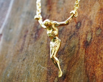 14k Solid Gold Surrealist Crucifix Necklace, Cross Sculpture, Gold jewelry, Floating Jesus pendant, Christ Saint John