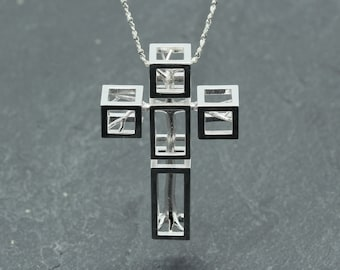 Tree in cross necklace, cross jewellery, silver cross necklace