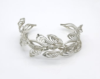 Gilt Laurel Cuff Bracelet, Art Nouveau silver jewellery, Silver Wedding Bracelet, 3d printed, Filigree Bridal Cuff Bracelet