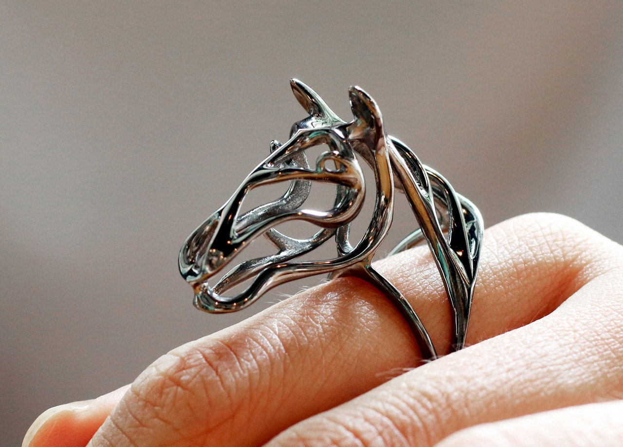 Silver Zodiac Horse Ring Black Horse Ring Zodiac Jewelry Fashion Jewelry Zodiac Animals Jewelry Abstract Horse Ring Wear Art