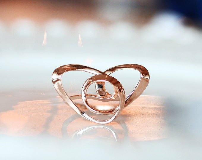 Featured listing image: Knot Heart Ring, Wire Art Jewelry, Contemporary Ring, 3D printed in Sterling Silver with Rose Gold Plating, Vulcan Jewelry