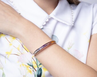 14k Rose Gold Rainbow Gemstones Bangle, Multi-color Natural Gemstones Cuff