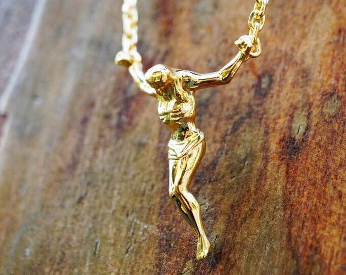 Featured listing image: 14k Solid Gold Surrealist Crucifix Necklace, Cross Sculpture, Gold jewelry, Floating Jesus pendant, Christ Saint John