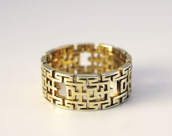 14k/18k Solid Gold Custom Wedding Ring with Chinese Happiness motifs, Wedding Ring, Custom Jewelry