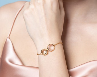 Rose Quartz Prasiolite Square Bracelet, Gemstone Bracelet