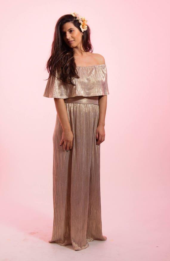 Brautjungfernkleid benutzerdefinierte Pailletten Gold Kleid