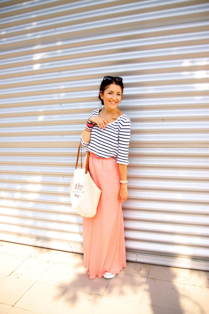 dc769c70e3 Coral Pleated skirt Vintage Summer Pleated Maxi Skirt   Etsy
