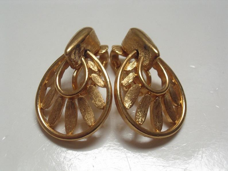 Gold Drop Hoop Earrings Signed Trifari 1960s TRIFARI Gold EARRINGS 3cm Vintage 1960s Crown Trifari Earrings 60s 70s Trifari Jewellery