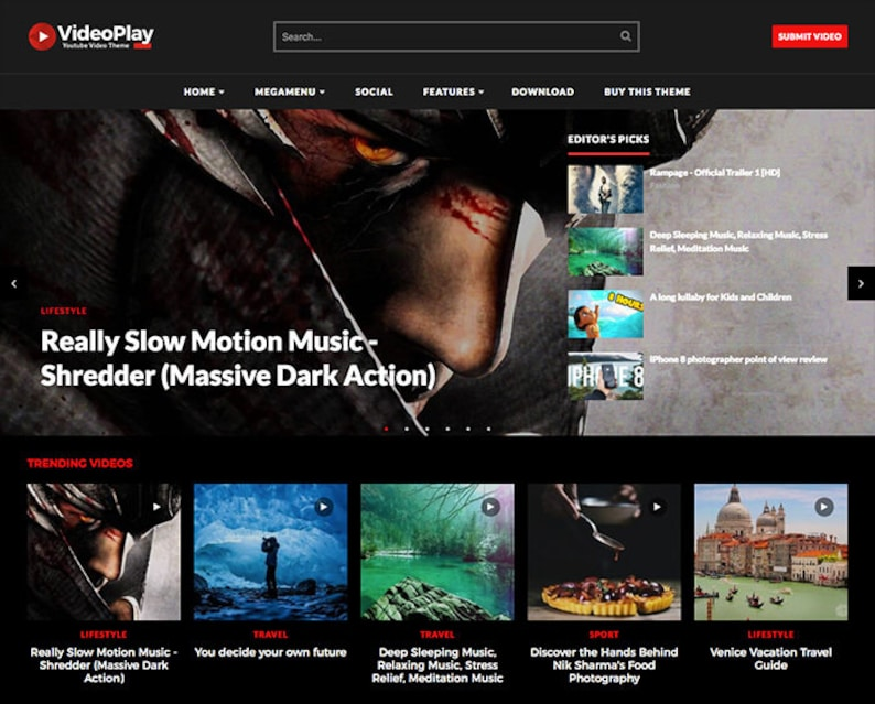 Videoplay Youtube Video Blogger Template Blogspot Theme Etsy