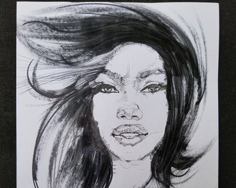 Promotion - buy one get one half price! Free shipping! Windy - drawing. Ink/acrylic/pencil on paper. A4
