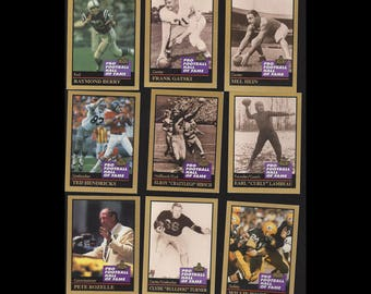 1991 Enor Pro Football Hall of Fame Trading Cards 9 pc