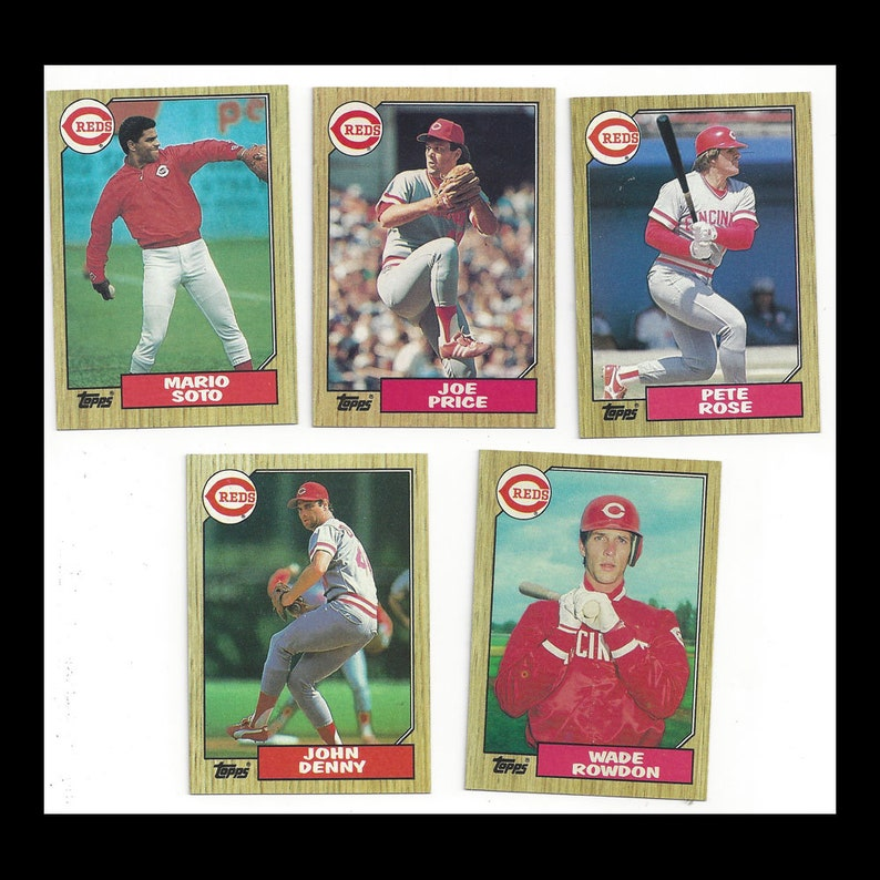 Cincinnati Reds 1987 Topps Baseball Cards Including Pete Rose 5 Pc