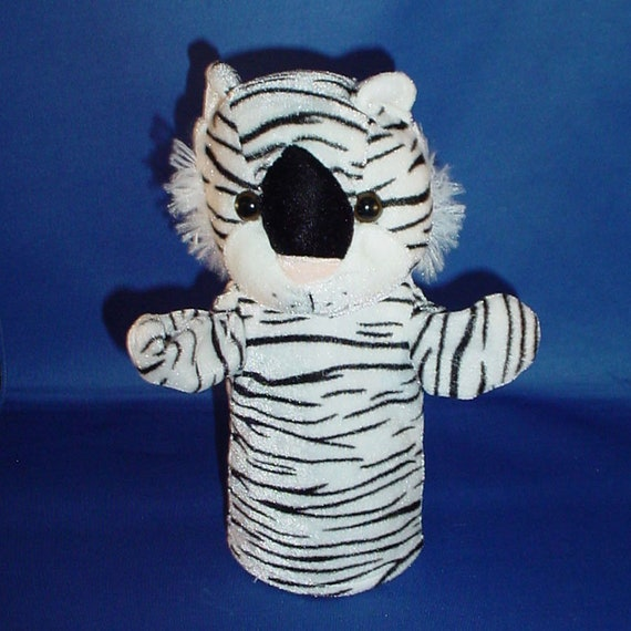 White Tiger Hand Puppet Vintage Plush Stuffed Animal Etsy