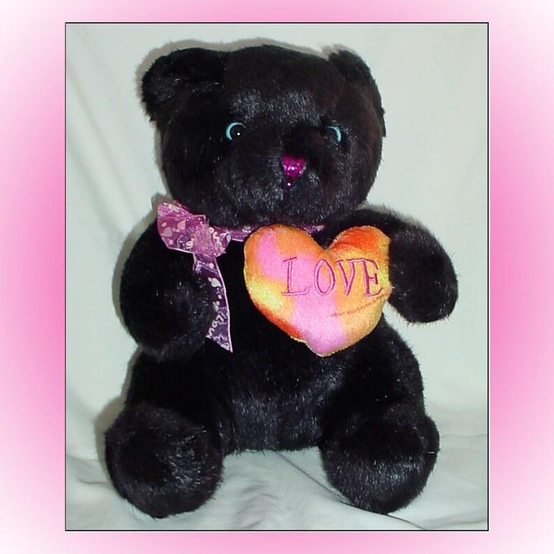 Black Bear with Love Heart Plush Stuffed Animal 1990s