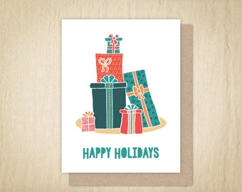 Happy Holidays, Holiday Card, Christmas Card, Holiday Greeting Card, Illustrated Holiday Card, Hand Drawn Christmas Card