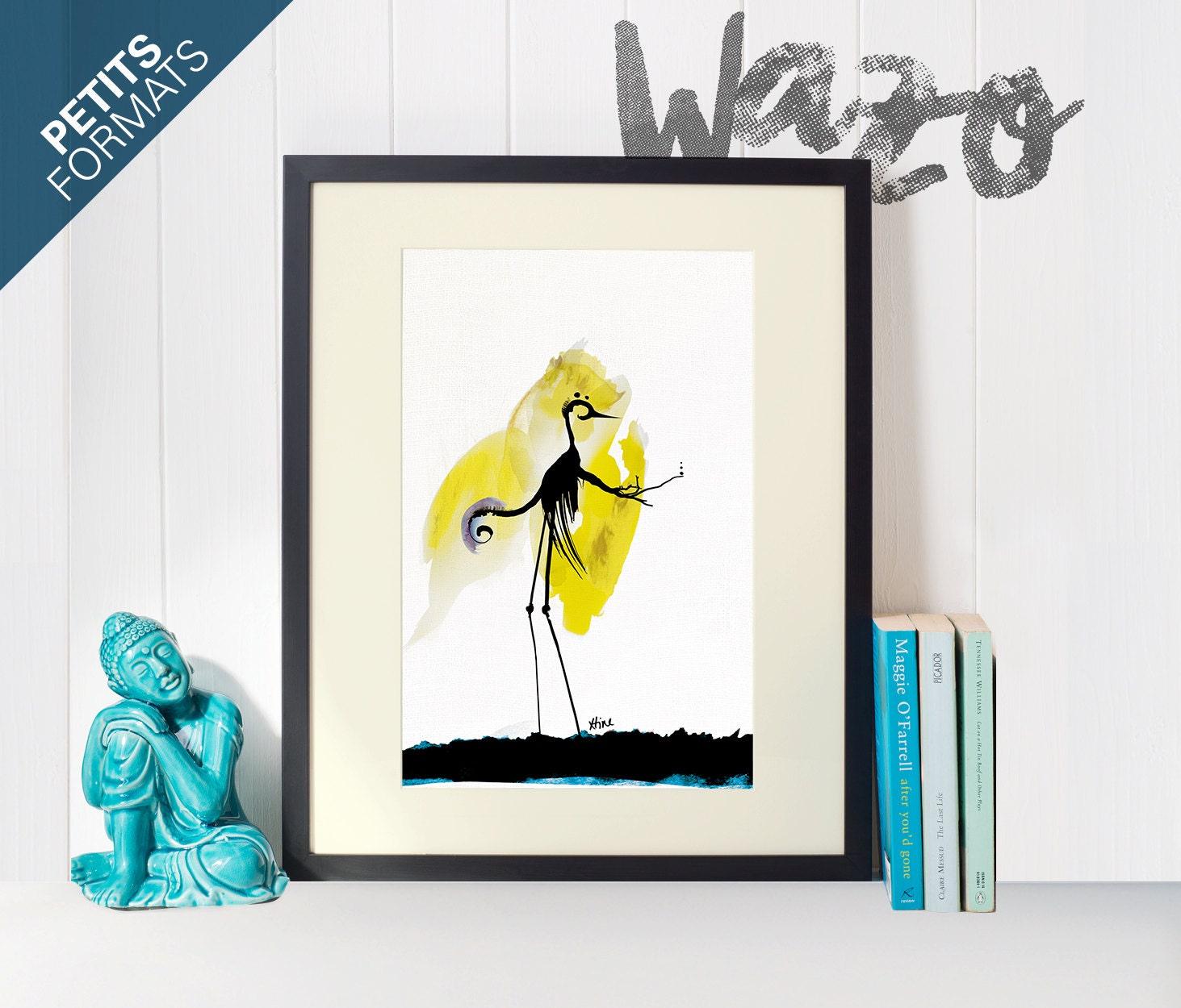Carte postale Affiche dessin oiseau Illustration Aquarelle   Etsy