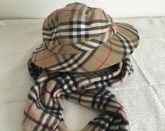 248449d09d57bd Burberry Burberrys Vintage Check Plaid Large Hat and Scarf - Rare