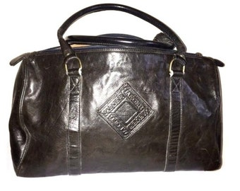 JAEGER Large Brown Leather Lined Bag Made in Italy