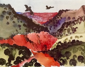 Georgia O'Keeffe Art Print Canyon with Crows Vintage Lithograph American Modern Southwest Desert Landscape Home Office Wall Decor O'Keefe