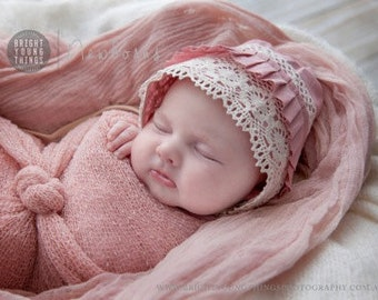 Newborn Pink Fabric Bonnet with Torsion Cotton Lace / Photography Prop / Baby Girl Gift