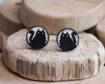 Fluffy cat silhouette earrings - Small hand painted wooden studs - Super cute, original gift for cat lovers - Halloween jewellery