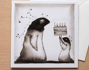 Creature's Birthday Cake - Original Greetings Card - Black & White, Alternative card - Ideal for birthdays
