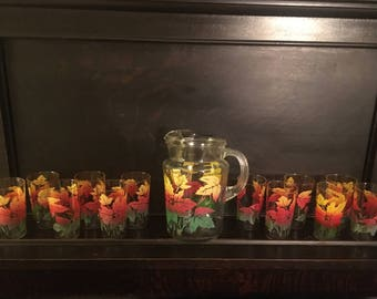 VTG Colorful Water Pitcher 10 Matching Glasses Orange Yellow Green