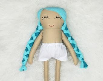 "16"" Dress Up Doll ~ Beige Skin ~ Aqua & Peacock Pigtail Hair *READY TO SHIP*"